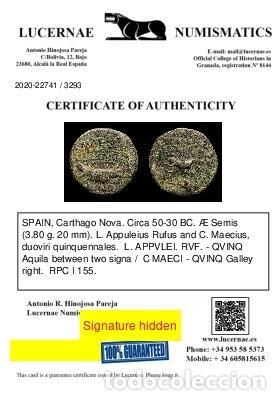 Monedas Imperio Romano: ESPAÑA, Carthago Nova. Æ Semis. L. Appuleius Rufus y C. Maecius - Foto 3 - 236534635
