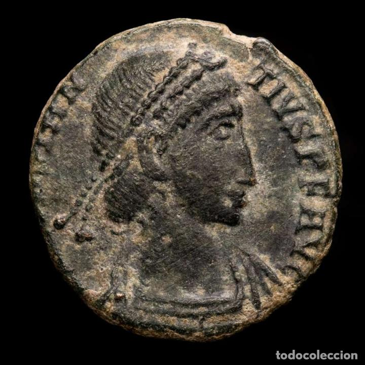 Monedas Imperio Romano: Constancio II, AE18. Aquileia. REPARATIO REIPVB/AQP Palma. Escaso. - Foto 2 - 236541635