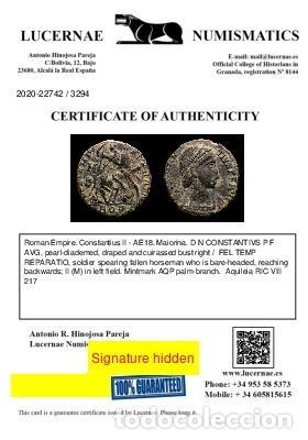 Monedas Imperio Romano: Constancio II, AE18. Aquileia. REPARATIO REIPVB/AQP Palma. Escaso. - Foto 3 - 236541635
