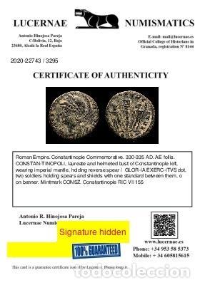 Monedas Imperio Romano: CONSTANTINOPOLIS Follis Conmemorativo GLORIA EXERCITVS CONSZ (3295) - Foto 3 - 236542325