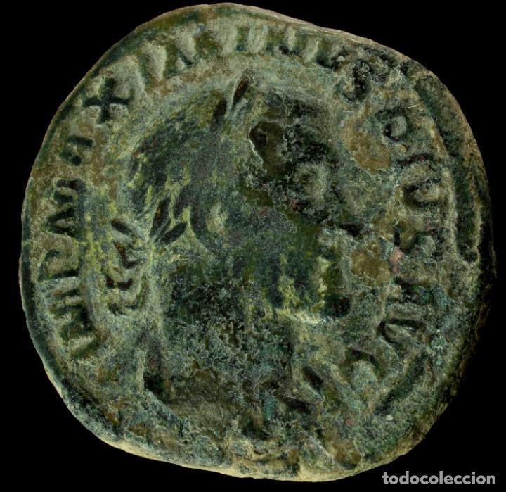 SESTERCIO DE MAXIMINO - FIDES MILITVM - 33 MM / 25.91 GR. (Numismática - Periodo Antiguo - Roma Imperio)
