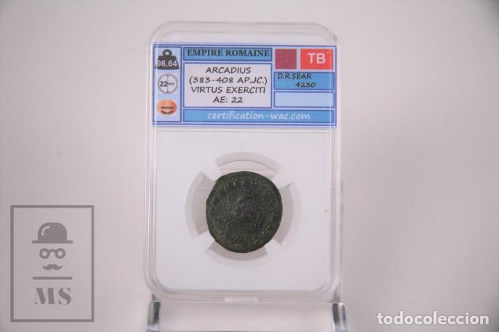 MONEDA IMPERIO ROMANO ARCADIO - VIRTUS EXERCITI - CERTIFICACION WAC - EN SLAB (Numismática - Periodo Antiguo - Roma Imperio)