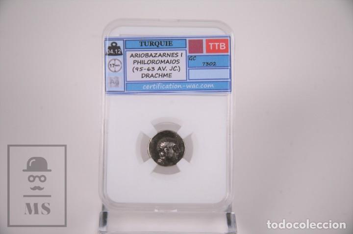 MONEDA IMPERIO ROMANO TURQUIA - ARIOBARZANES I DRACMA PLATA - CERTIFICACION WAC - EN SLAB (Numismática - Periodo Antiguo - Roma Imperio)