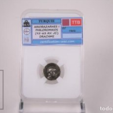 Monedas Imperio Romano: MONEDA IMPERIO ROMANO TURQUIA - ARIOBARZANES I DRACMA PLATA - CERTIFICACION WAC - EN SLAB. Lote 241718940