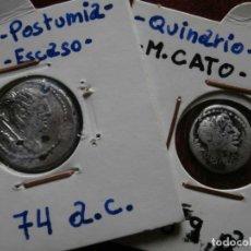 Monedas Imperio Romano: ROMA IMPERIO - DENARIO POSTUMIA 74 A.C.( ¿FORRADO DE EPOCA?) -- QUINARIO FAMILIA PORCIA 89 A.C.. Lote 247165540