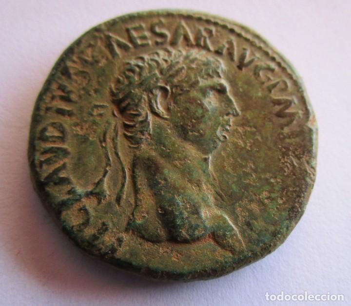 CLAUDIO . IMPRESIONANTE SESTERCIO DE BRONCE. 100 X 100 ORIGINAL GARANTIZADO (Numismática - Periodo Antiguo - Roma Imperio)