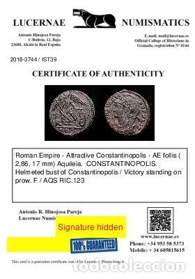 Monedas Imperio Romano: Constantinopolis Follis conmemorativo Victoria en Proa F / AQS - Foto 4 - 254170575