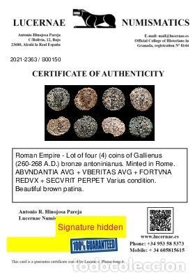 Monedas Imperio Romano: Lote de cuatro Galienos. AE Antoninianos. Varios reversos - Foto 11 - 254176505