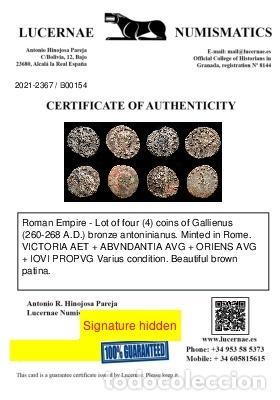 Monedas Imperio Romano: Lote de cuatro Galienos. AE Antoninianos. Varios reversos - Foto 11 - 254177405