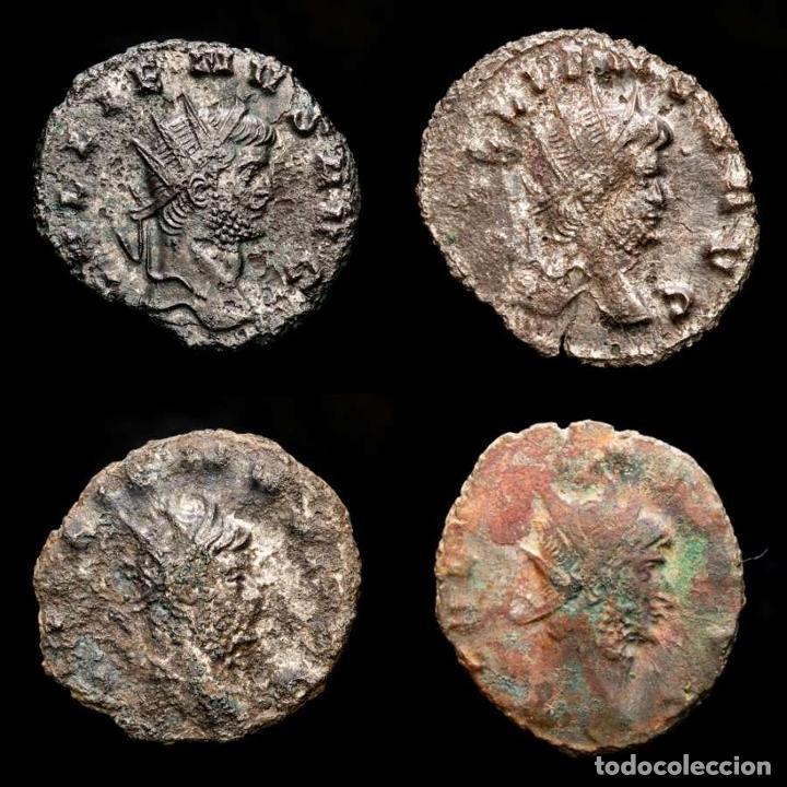 LOTE DE CUATRO GALIENOS. AE ANTONINIANOS. VARIOS REVERSOS (Numismática - Periodo Antiguo - Roma Imperio)
