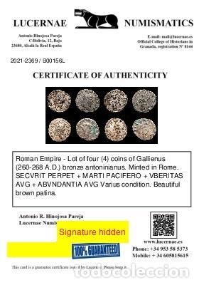 Monedas Imperio Romano: Lote de cuatro Galienos. AE Antoninianos. Varios reversos - Foto 11 - 254177855