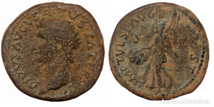 DIVUS AUGUSTUS AE29 DUPONDIUS. ROMA, 80-81 D.C. DIVVS AVGVSTVS PATER, IRRADIA LA CABEZA HACIA LA IZQ (Numismática - Periodo Antiguo - Roma Imperio)
