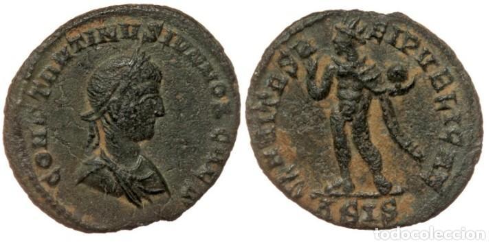 CONSTANTINO II, 337-340. SISCIA, FOLLIS, AE19 CONSTANTINVS IVN NOB CAES, LAUREADA, DRAPEADA, BUSTO C (Numismática - Periodo Antiguo - Roma Imperio)