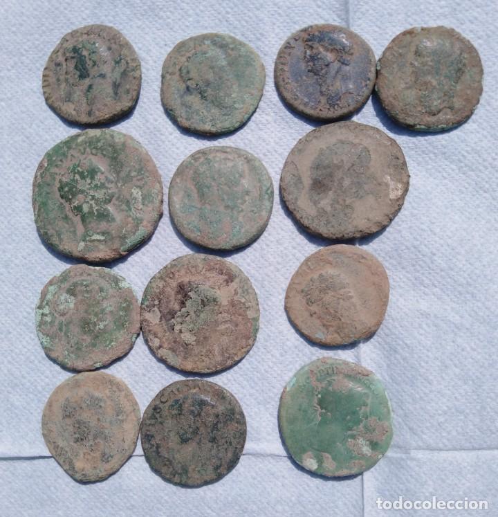 LOTE 13 MONEDAS ROMANAS SESTERCIOS Y ASES DE BRONCE LOTE A EXAMINAR. (Numismática - Periodo Antiguo - Roma Imperio)