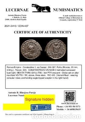 Monedas Imperio Romano: Raro Busto Constantino II, follis Trier BEATA TRANQVILLITAS / •PTR◡ - Foto 3 - 257402940