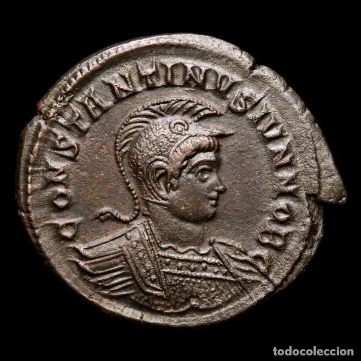 RARO BUSTO CONSTANTINO II, FOLLIS TRIER BEATA TRANQVILLITAS / •PTR◡ (Numismática - Periodo Antiguo - Roma Imperio)