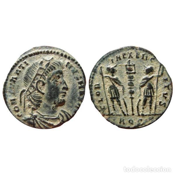 Monedas Imperio Romano: Constantino I - AE follis. Aquileia AQS (Palma) GLORIA EXERCITVS - Foto 3 - 262379895