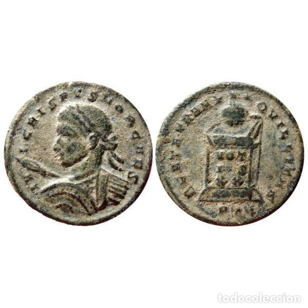 Monedas Imperio Romano: Crispo Cesar Follis de Londres - BEATA TRANQUILITAS / PLON Altar - Foto 3 - 262380405