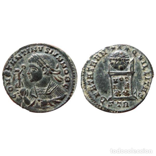 Monedas Imperio Romano: Excelente Busto de Constantino II - Follis BEATA de Trier. - Foto 3 - 262383190
