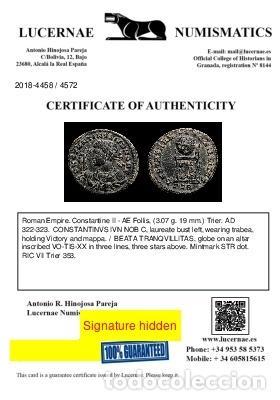 Monedas Imperio Romano: Excelente Busto de Constantino II - Follis BEATA de Trier. - Foto 4 - 262383190