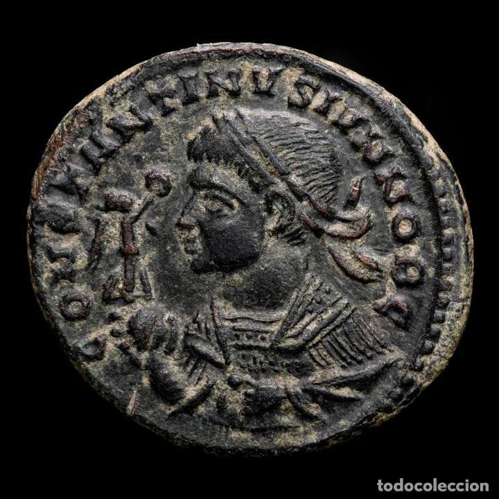 EXCELENTE BUSTO DE CONSTANTINO II - FOLLIS BEATA DE TRIER. (Numismática - Periodo Antiguo - Roma Imperio)