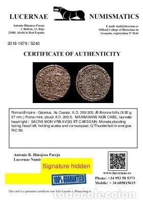 Monedas Imperio Romano: Galerio, Cesar. Æ Follis - Roma SACRA MON VRB // Q Thunderbolt - Foto 3 - 269387743