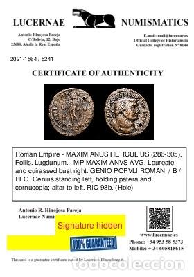 Monedas Imperio Romano: Maximiano Follis. Lugdunum. GENIO POPVLI ROMANI - B / PLG - Foto 3 - 269387863