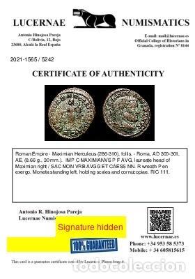 Monedas Imperio Romano: Maximiniano (286-310 dC). Follis, Roma, SAC MON VRB AVGG / RΩP - Foto 3 - 269387983