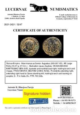 Monedas Imperio Romano: Maximiano - Follis Post Abdicacion Providencia y Quies - Aquileia. - Foto 3 - 269388508