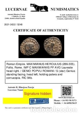 Monedas Imperio Romano: Maximiano - follis de Roma, GENIO POPVLI ROMANI / S✩ (6057) - Foto 3 - 269388568