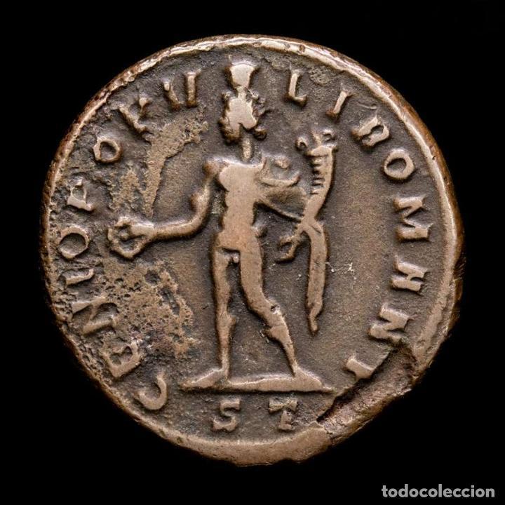Monedas Imperio Romano: Maximiano, Follis de Ticinum, 303 dC. - GENIO POPVLI ROMANI / ST - Foto 2 - 269388673