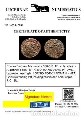 Monedas Imperio Romano: Imperio Romano - Maximiano. Æ Follis. GENIO POPVLI ROMANI / HTA - Foto 3 - 269388843