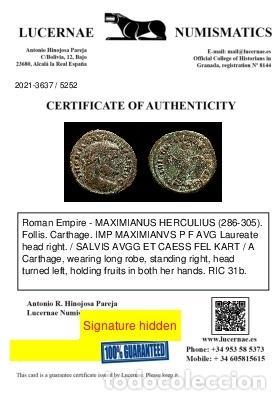 Monedas Imperio Romano: Maximiano 286-305 Follis Cartago. SALVIS AVGG ET CAESS FEL KART / A - Foto 3 - 269389003