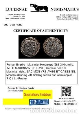 Monedas Imperio Romano: Maximiniano (286-310 dC). Follis, SAC MON VRB AVGG ET CAESS (6063) - Foto 3 - 269389123