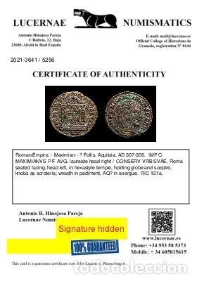 Monedas Imperio Romano: Maximiano - Follis de Aquileia - Templo CONSERV VRB SVAE / AQΓ - Foto 3 - 269389483