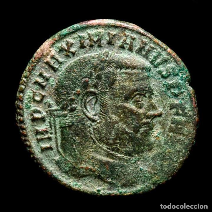 Monedas Imperio Romano: Maximiano - Follis de Roma - Templo CONSERVATORES VRB SVAE / R✩P - Foto 2 - 269389553