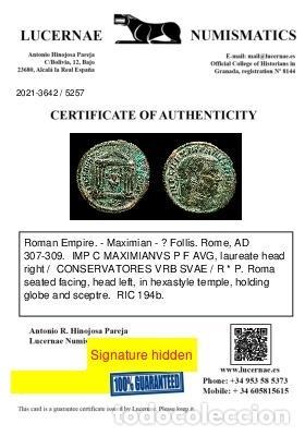 Monedas Imperio Romano: Maximiano - Follis de Roma - Templo CONSERVATORES VRB SVAE / R✩P - Foto 3 - 269389553
