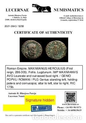 Monedas Imperio Romano: Maximiano (286-305 dC.) Follis de Lugdunum - Genio altar - ✩ / PLG - Foto 3 - 269389733