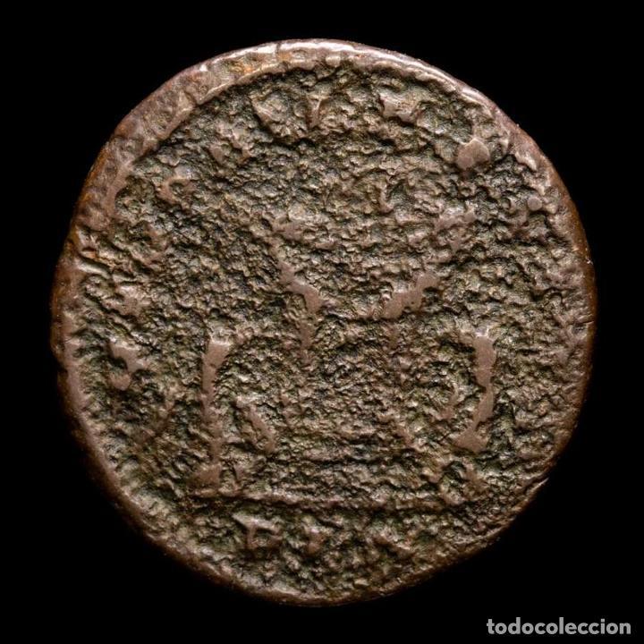 Monedas Imperio Romano: Raro Divo Constancio I Follis MEMORIA FELIX / PLN altar y aguilas. - Foto 2 - 269389828