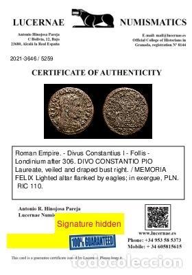 Monedas Imperio Romano: Raro Divo Constancio I Follis MEMORIA FELIX / PLN altar y aguilas. - Foto 3 - 269389828
