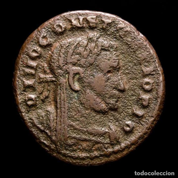 RARO DIVO CONSTANCIO I FOLLIS MEMORIA FELIX / PLN ALTAR Y AGUILAS. (Numismática - Periodo Antiguo - Roma Imperio)