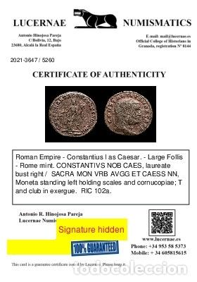 Monedas Imperio Romano: Constancio I Cesar - Follis de Roma - Moneta / T Maza en exergo - Foto 3 - 269389933