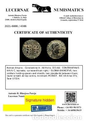 Monedas Imperio Romano: Constantino II. Arles. GLORIA EXERCITVS Guirnalda PCONST. - Foto 3 - 277436598