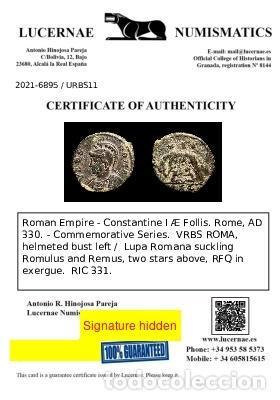 Monedas Imperio Romano: Constantino I Æ Follis 330 dC. Roma VRBS ROMA / RFQ Romulo y Remo - Foto 3 - 277608113