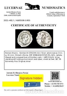 Monedas Imperio Romano: Gordiano III - Antoniniano de plata. Roma. VIRTVS AVG Marte (xb506) - Foto 3 - 278622293