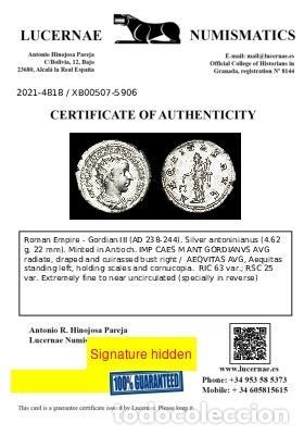 Monedas Imperio Romano: Imperio Romano - Gordiano. Antoniniano AR. AEQVITAS AVG (xb507) - Foto 3 - 278622768