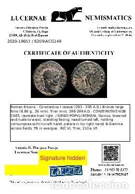 Monedas Imperio Romano: Constancio I follis. Trier 298/9 dC. GENIO POPVLI ROMANI B-Γ TRP. - Foto 3 - 289819388
