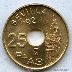 Monedas Juan Carlos I: ¡¡ REBAJADA !! 25 PESETAS 1992 LA GIRALDA SIN CIRCULAR. PRECIOSA MONEDA. LA MAS RARA DE SU SERIE. Lote 183723272