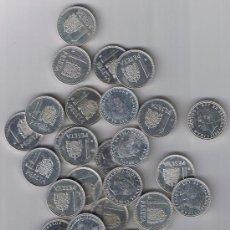 Monedas Juan Carlos I: OFERTA J. CARLOS I - LOTE DE 32 MONEDAS DE 1 PTS. ALUMINIO, EBC - EBC+ ,AÑOS ENTRE 82 Y 89 + REGALO.. Lote 26941616