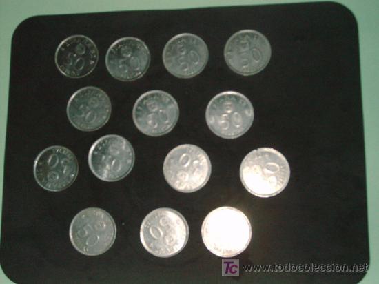 LOTE 14 MONEDAS 50 PTS 1980 (Numismática - España Modernas y Contemporáneas - Juan Carlos I)